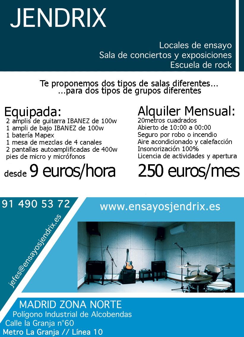 Locales de ensayo jendrix alcobendas for Locales de ensayo valencia